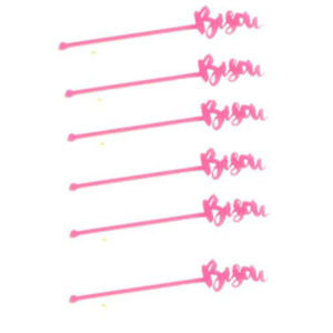 "Laser Cut Fuchsia ""Bisou"" Acrylic Stir Sticks"